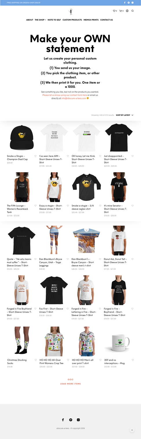 eCommerce online store for Custom T-shirts