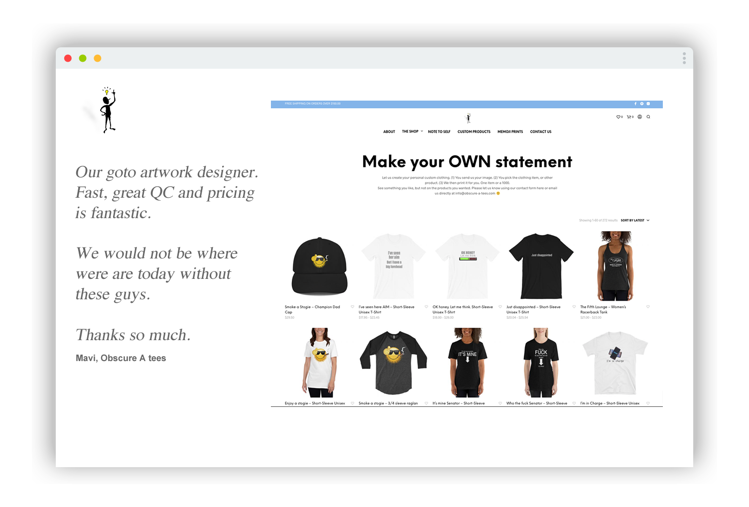 eCommerce design for Obscure A Tees - Custom TShirts - Make your own statement